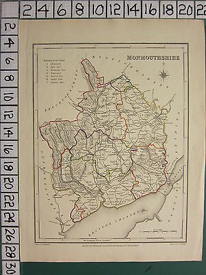 c1837 VICTORIAN MAP ~ MONMOUTHSHIRE HAND COLOURED CARDIFF CHEPSTOW NEWPORT DORE