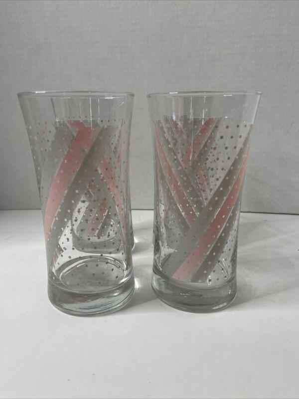 Mid Century Retro Tumbler Glasses Optic Graphic Pink Grey Set Of 4
