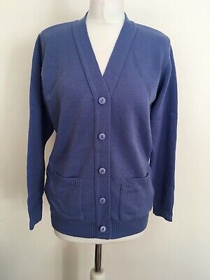 DAMART Womens Cardigan Sz 10 12 Sweater 100%Acrylic Knit Open Blue Front Jacket