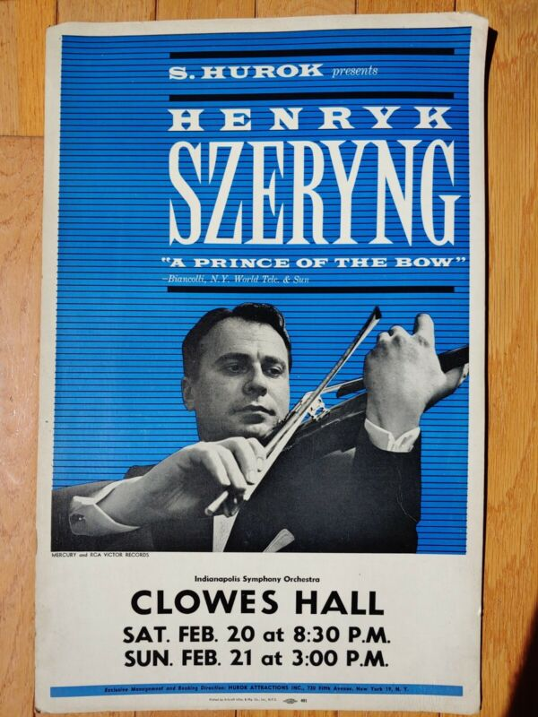 Henryk Szeryng Indianapolis Symphony Orchestra Clowes Hall Concert Poster Card