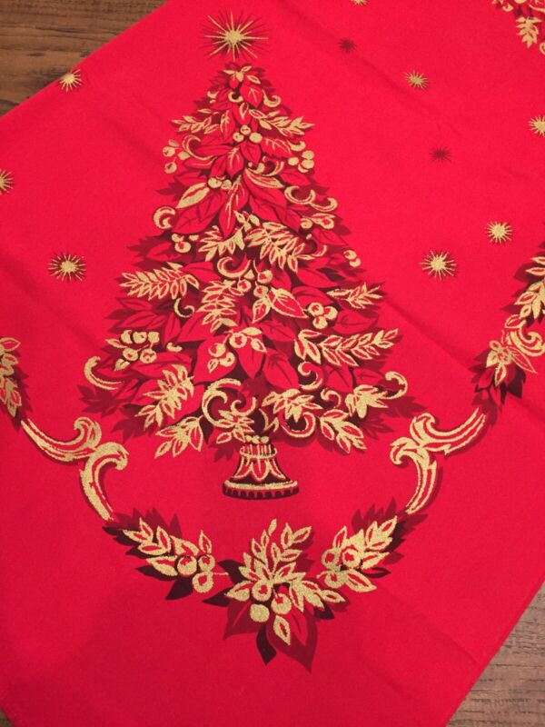 """Vtg Holiday Christmas Tablecloth Gold Glitter Trees on Red 51"""" x 70"""" RN#18281"""