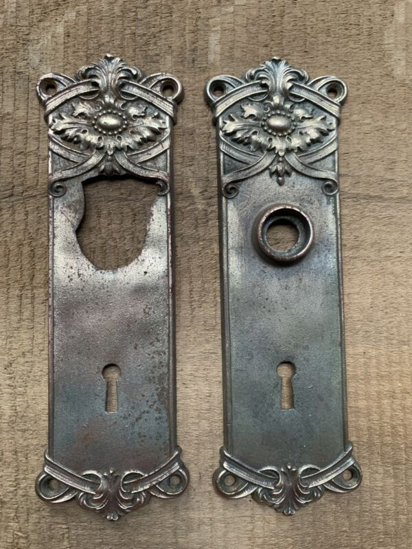 Pair Vintage Art Nouveau Victorian Matching Pressed Steel Door Backplates