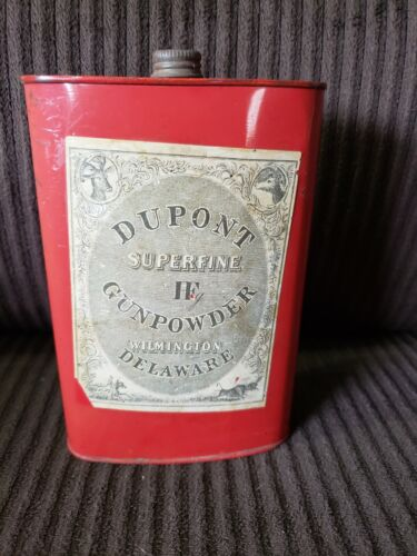 DUPONT SUPERFINE F GUN POWDER RED TIN CAN DELAWARE W/ PAPER LABEL empty