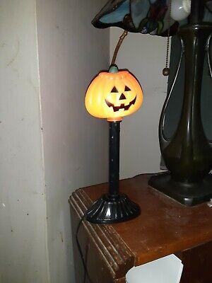 "Vtg Halloween Blow Mold 12"" Pumpkin Electric Light Candle window room deco"