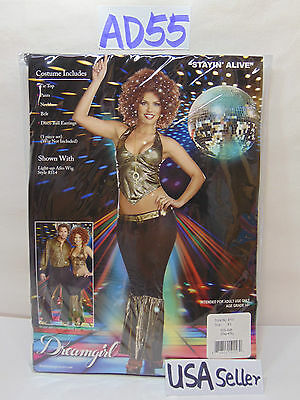 HALLOWEEN OUTFIT WOMENS ADULT XS DREAM-GIRL STAY'IN ALIVE DISCO 85-90 LB NEW  - Disco Girl Outfit