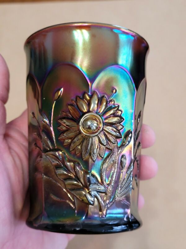 Wow Purple Northwood Carnival Glass Dandelion Tumbler No Damage