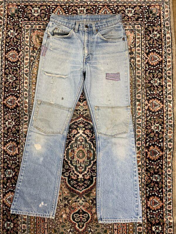Vtg Levis 70s Patchwork Original Repair Orange Tab Jeans Size 29x31