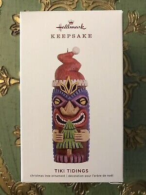 Colorful Santa Hats (NIB 2019 Hallmark Tiki Tidings Colorful Santa Hat Totem Pole)