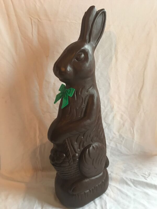 """Blow Mold Huge Chocolate Plastic Rabbit 31"""" Green Bow Union Don Featherstone"""