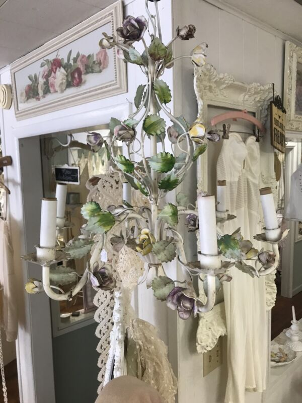 Pretty Tole Floral Roses Vintage Chandelier - Shabby Chic