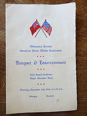 1948 American Water Works Assoc  Mn Section Banquet Event Program Menu Canada