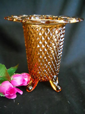Vintage Imperial Depression Amber Glass 4 Footed Vase Open Lace Rim Diamond Pt