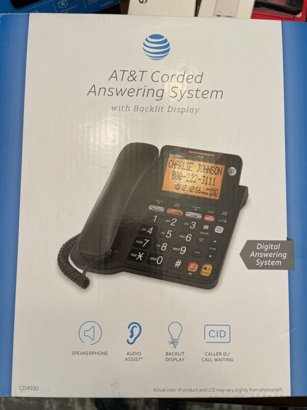 AT&T CD4930 Corded Phone with Digital Answering System and Caller ID, Extra-L...