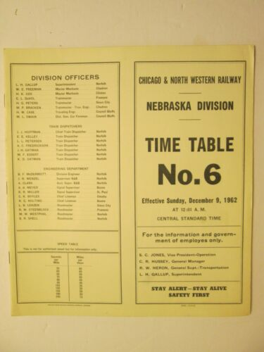 Chicago & North Western Time Table No. 6 Nebraska Division Dec. 9, 1962