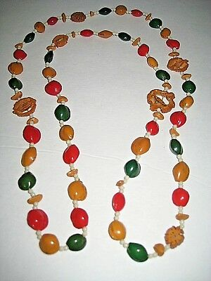 Vintage Christmas Garland Colorful Pistachio Pecan Shells Or Necklace 44