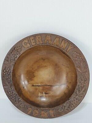 Vintage German Hand Carved Solid Wooden Dish Fruit Bowl 1947