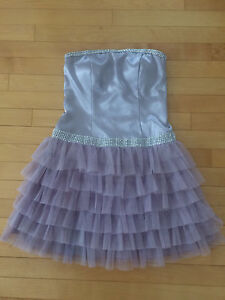 Silver and lilac prom dress