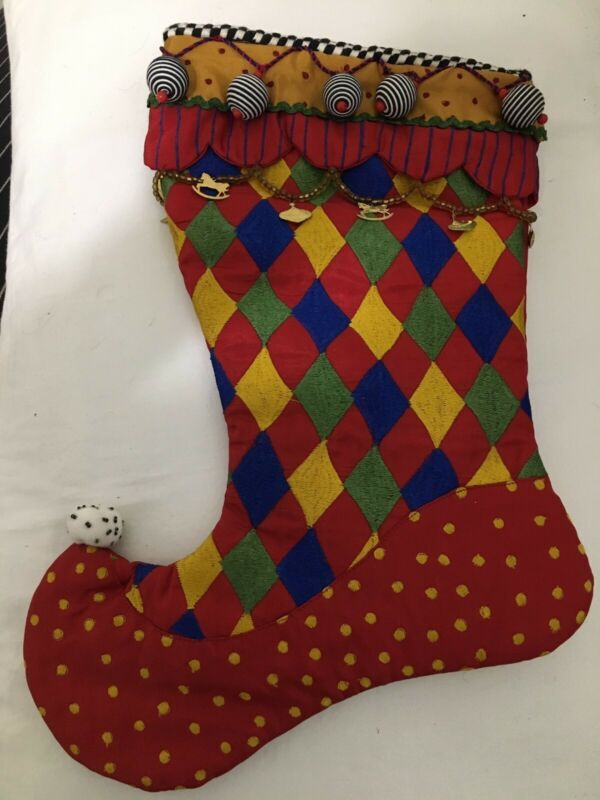 Mackenzie Childs Christmas Stockings - Gold Chain and Charms - Retired - 1 pair