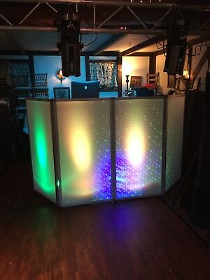 Facade Plexi Glass 4 Panel Dj Booth With Alkalite Elation Octopod 80 Led Lights