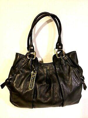 B. Makowsky Shoulder Bag Large Black Pebbled Leather Hobo Satchel Key Holder EUC