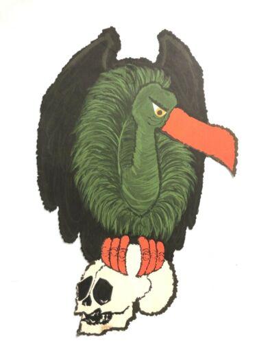 "VTG  Halloween VULTURE Sitting On Skull Decoration Cutout 13"""