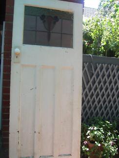Solid Oak Stained Glass Door