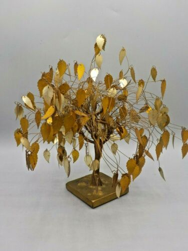 "Vtg Dream Tree Sculpture By J. Tramel Twisted Brass Gold 10""X10"" Mid Century Mod"