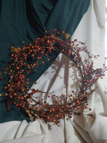 "Fall Grapevine Wreath Leaves & Berries Red Gold Burnt Orange 16"" Thanksgiving"