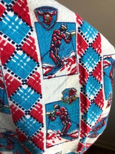 Vtg JC Penney Youth L 16 100% Cotton Flannel Skier Pajama Pants Top Set