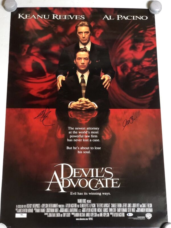 Devil's Advocate Poster Signed Al Pacino Keanu Reeves Rare Lawyer EXACT PROOF