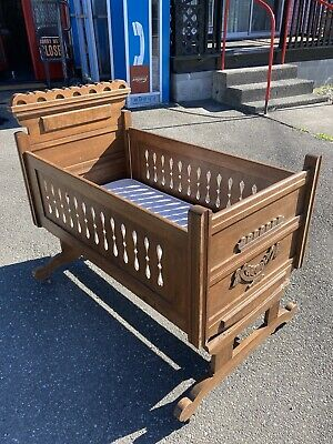 Antique Eastlake Victorian Walnut Baby Cradle Carved Ornate Large Mattress Rare