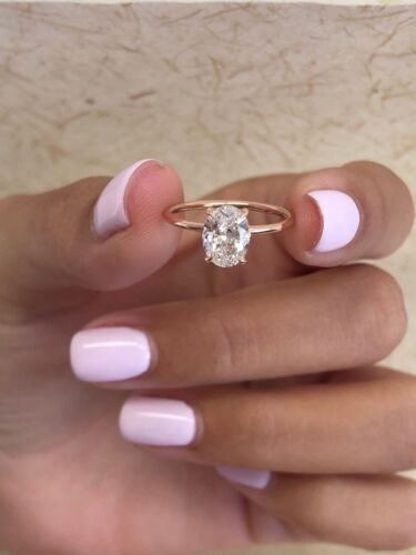 1ct Oval Cut VVS1 Diamond Halo Solitaire Engagement Ring 14k Rose Gold Finish