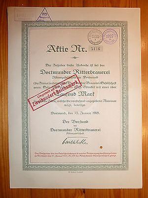 D: BRAUEREI: Dortmunder Ritterbrauerei AG, 1921, 1000 Mark *