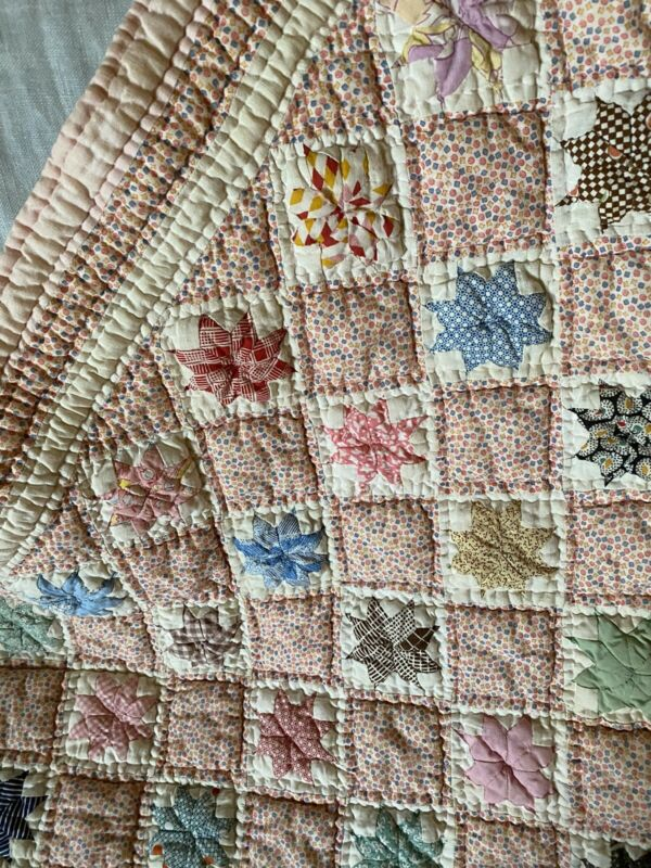 "Antique ""LeMoyne Star"" 8 Pt Childs Quilt ca 1920's"