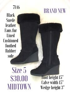 Size 5 for brand new black suede wedge boots