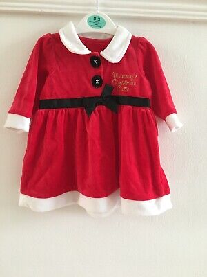 Baby Girls Red Santa Mrs Claus Dress Up Age 0-3 Months Christmas Outfit Set - Baby Mrs Santa Outfit