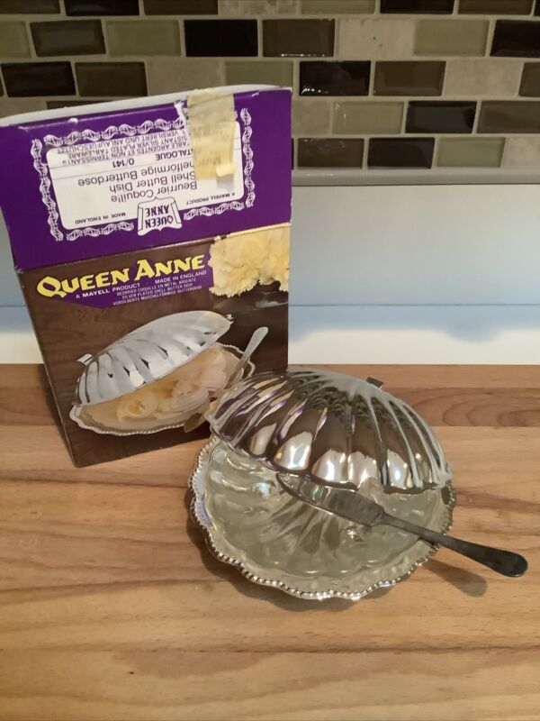 """Vintage """"Queen Anne"""" Silverplate Shell Butter Dish- New"""