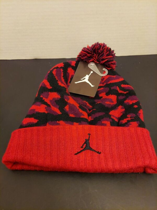 NIKE AIR JORDAN JUMPMAN Youth Knit Cap Beanie Winter Hat red black camouflage