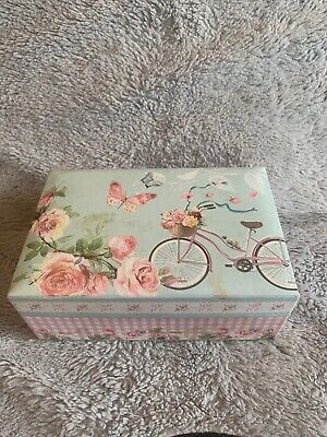 Vintage Look Shabby Chic Jewelery Box With Vanity Mirror In Pink Floral