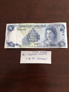 Money Bill Rare 1974 Cayman Islands