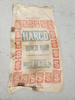 Vintage Harco Broiler Mash Harper Feeds Seed Bag Canvas Pittsburgh Pa.