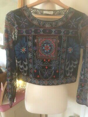 Zara Woman Premium Denim Collection Embroidered Mesh Top S