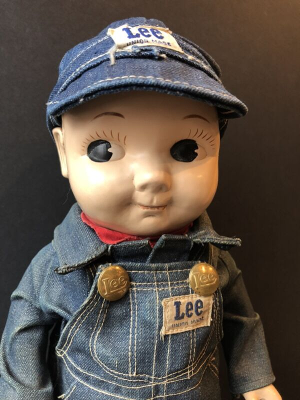 """Vintage 13"""" Hard Plastic Buddy Lee Doll Denim Outfit and Cap"""