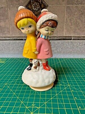 2 FRIENDS AND A DOG Music Box Sanyko Japan Vintage WORKS GREAT 1970s LOOK