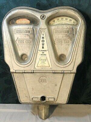 Antique Dual 1-Hour Parking Meter 5 Pennies / 1 Nickel  RARE METER!