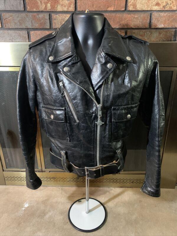 Vintage AMF Harley Davidson Full Zip Leather Motorcycle Biker Jacket Mens SZ 38