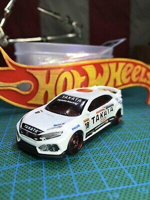 🔴2020 Hot Wheels Custom Takata Honda Racing Civic Type R W/Real Riders'White