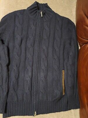 Doriani 4 Ply 100% Cashmere Thick Full Zip Cable Knit Cardigan Sweater M L Italy