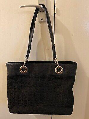 Black DKNY Jacquard Monogrammed Shoulder Tote Hobo Handbag