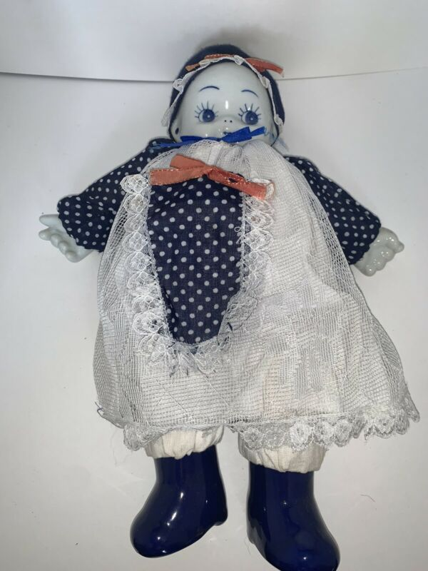 Vintage Chinese Girl Doll Blue White Porcelain Head Hands & Feet Kewpie Style